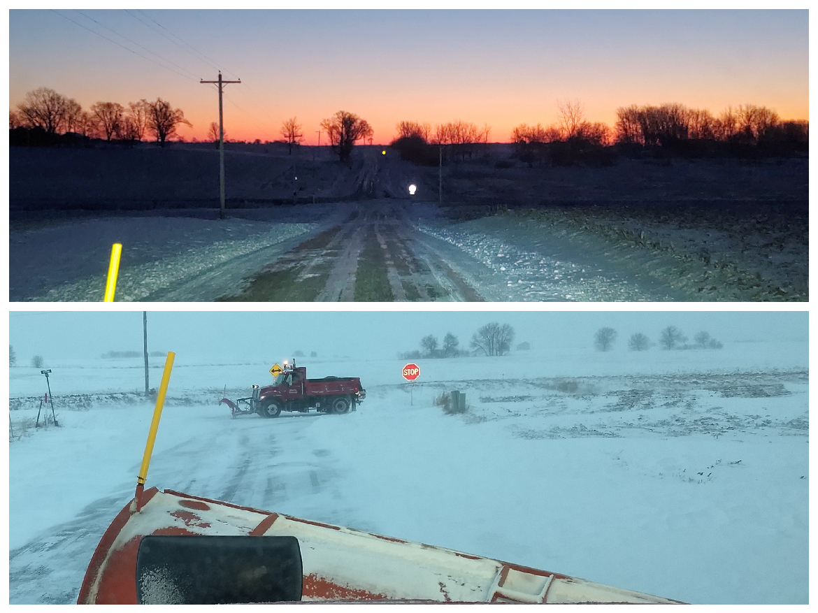 Plow trucks utilize mobile vibration to loosen compacted salt in order to easily spread it
