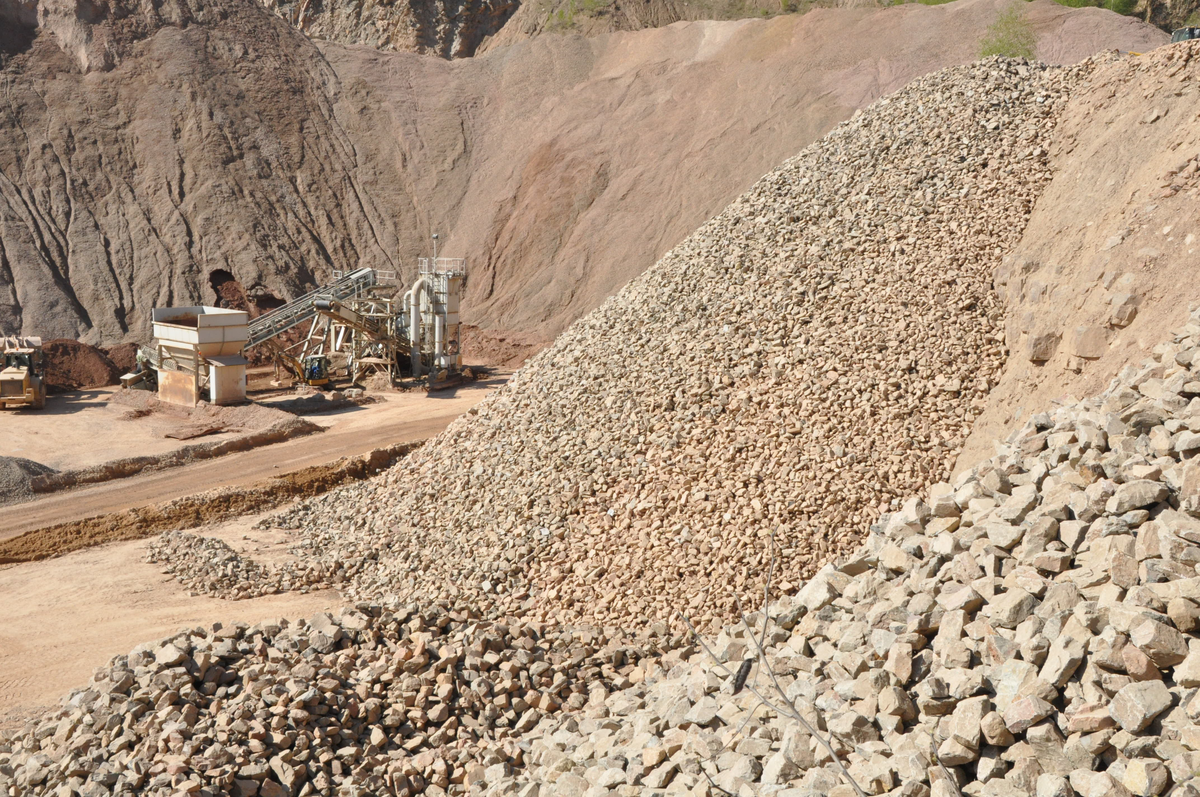 Piles of rock at a quarry waiting to be transported to final destination